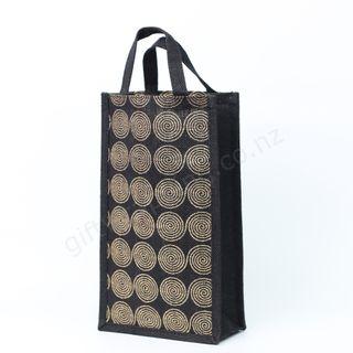 CIRCULAR JUTE WINE BAG 2 BOTTLES  350x200x100mm (MIN.BUY 10)
