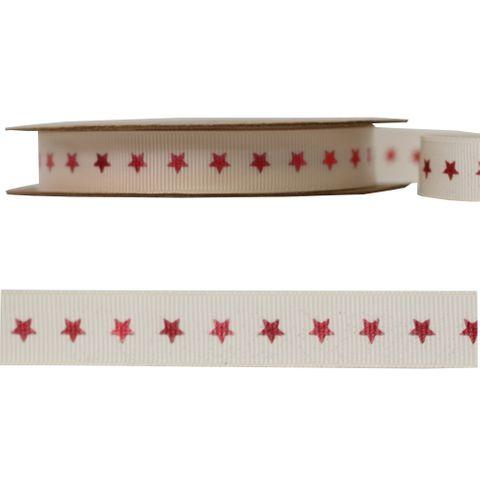 GROSGRAIN 15mm x 10M RED STAR
