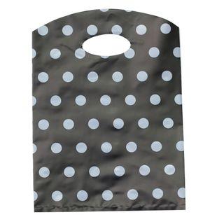 CURVE TOP BAG SML 300(H)x210(W)mm BLACK/GREY DOTS (100)-70 MICRONS