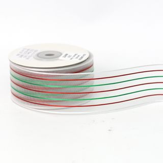 XIA SHEER 38mmx9M WHITE RIBBON  RED/GREEN STRIPE (WIRED)