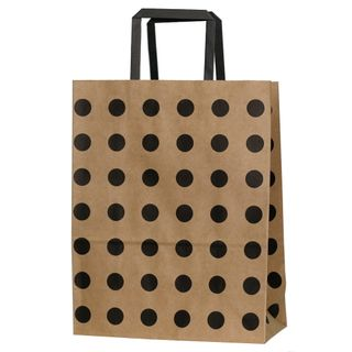 KRAFT BAG BROWN /BLACK SPOT SMALL 27Hx21W x11G CM PACK OF 10