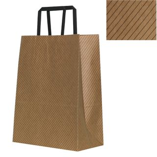 KRAFT BAG BROWN DIAGONAL SMALL 27Hx21W x11G CM  PACK OF 10