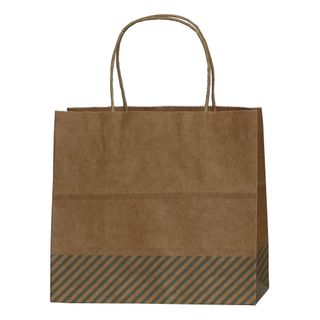 KRAFT BAG BROWN OBLIQUE STRIPE BLUE SML 19.5Hx21Wx11Gcm PACK OF 10