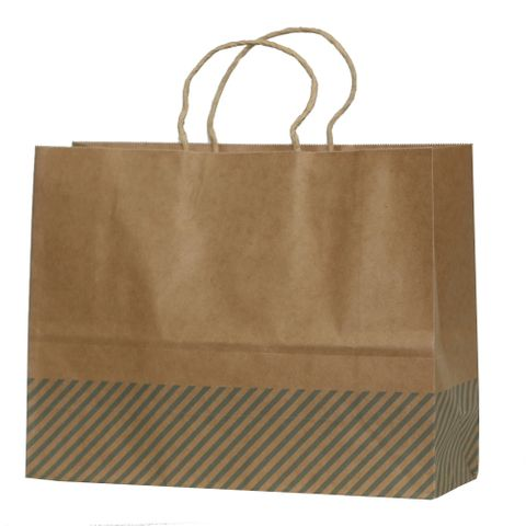 KRAFT BAG BROWN OBLIQUE STRIPE BLUE LRG 25Hx32Wx11G CM PACK OF 10