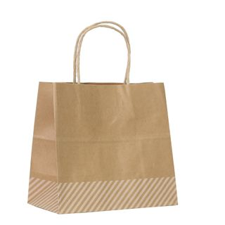 KRAFT BAG BROWN OBLIQUE STRIPE WHITE SML 19.5Hx21Wx11GCM PACK OF10