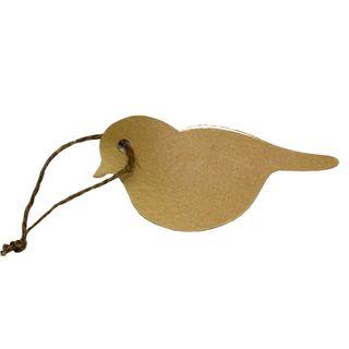 GIFT TAG BROWN BIRDIE 12 PER PACK