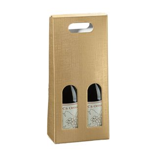 WINE BOX 2 BOTTLES 180x100x400mm GOLD ( WITH CUT OUT LABEL)