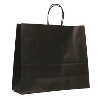 KRAFT BAG BLACK PLAIN LANDSCAPE 31H x42W x 13G CM  PACK OF 10
