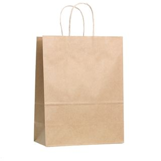KRAFT BAG BROWN PLAIN LARGE 33H x25W x 12G CM  PACK OF 10