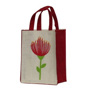 KIWIANA JUTE BAG SMALL POHUTUKAWA WHITE 230(H)x180(W)x100(G) mm