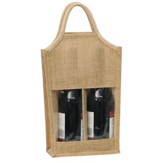 JUTE BAG 2 BOTTLE WITH CLEAR PANEL (MIN.BUY 10)
