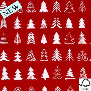 MINI ROLL XMAS TREE RED 200mm x 50M