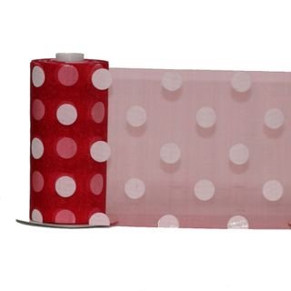 DEBBIE DOT ORGANZA150mm x 23M  RED/WHITE DOT