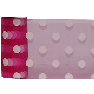 DEBBIE DOT ORGANZA 150mm x 23M HOT PINK/WHITE DOT