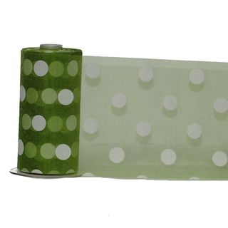 DEBBIE DOT ORGANZA 150mm x 23M LIME/WHITE DOT