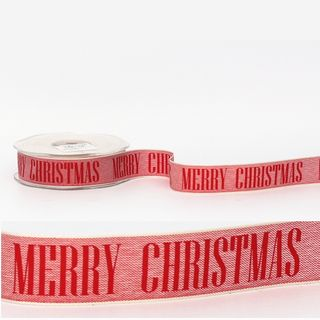 MERRY CHRISTMAS ON LINEN RED 25mm x 20M
