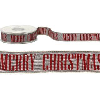MERRY CHRISTMAS ON LINEN BLACK 25mm x 20M
