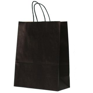 KRAFT BAG BLACK PLAIN LARGE 33H x25W x 12G CM -100 UNITS/CARTON