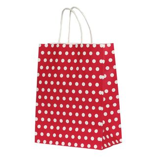 KRAFT BAG RED /WHITE DOT SMALL 21Hx15W x8G CM -600 UNITS/CARTON
