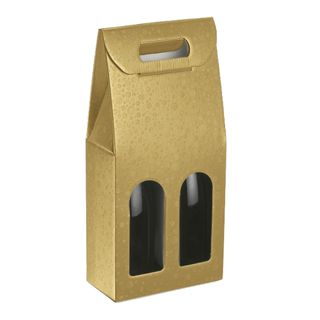 WINE BOX 2 BOTTLES 180x90x385mm GOLD CIRCLE (WITH CUT OUT LABEL)