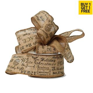 CHRISTMAS HESSIAN 64mm x 9M (WIRED) -BUY 1 GET 1 FREE