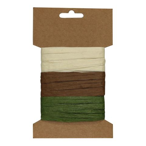 RAFFIA PACK 3 COLOURS CARD F (MIN BUY 6)