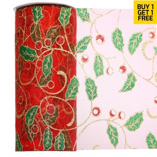 ORGANZA CHRISTMAS 150mm X 20M HOLLY RED/GREEN