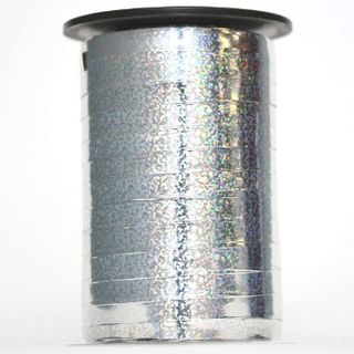 CURLING RIBBON HOLOGRAPHIC 7mm x 225M SILVER-BUY 1 GET 1 FREE