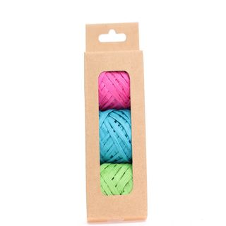 RAFFIA PACK 3 COLOURS FUCHSIA TURQUOISE LIME (10M PER ROLL)