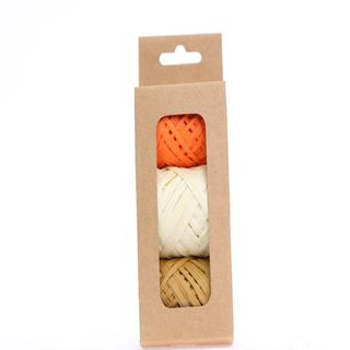 RAFFIA PACK 3 COLOURS ORANGE CREAM MUSTARD (10M PER ROLL)