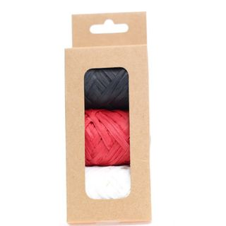 RAFFIA PACK 3 COLOURS  BLACK RED WHITE (10M PER ROLL)