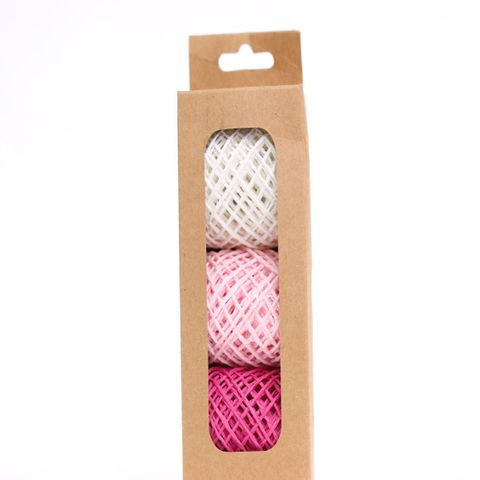 STRING PACK 3 COLOURS WHITE PINK FUCHSIA (15M PER ROLL)