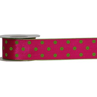 LULU 38mm x 9M PINK WITH LIME DOT (WIRED)