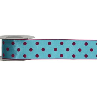 LULU 38mm x 9M TURQUOISE WITH PINK DOT (WIRED)