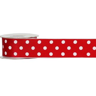LULU 38mm x 9M RED WITH WHITE DOT (WIRED)