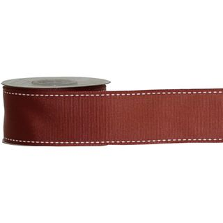 GROSGRAIN STITCHED 38mm x 9M RUST (WIRED)