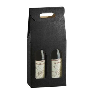 WINE BOX 2 BOTTLE 180x90x385mm BLACK (WITH CUT OUT LABEL)