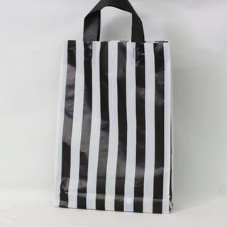 SOFTLOOP BAG MED 360Hx250Wx70Gmm BLACK/WHITE STRIPE (25)-90 MICRON
