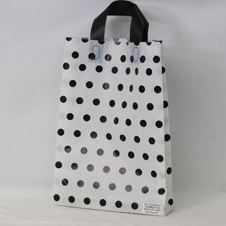 SOFTLOOP BAG MED 360Hx250Wx70Gmm WHITE/BLACK DOTS (25)-90 MICRONS