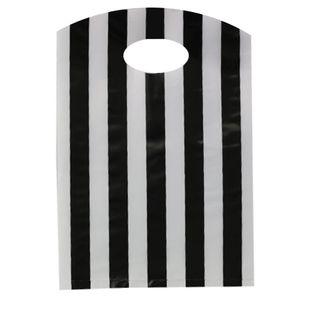 CURVE TOP BAG SML 300(H)x210(W)mm BLACK/WHITE STRIPE (100)-70 MIC