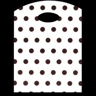 CURVE TOP BAG SML 300(H)x210(W)mm WHITE/BLACK DOTS (100)-70 MICRON