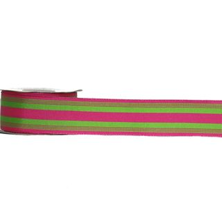 POLLYPOP 38mm x 9M PINK/LIME STRIPES (WIRED)