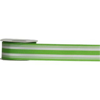 POLLYPOP 38mm x 9M LIME/WHITE STRIPES (WIRED)