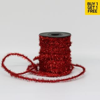 FUZZY TINSEL 6mm x 23M RED-BUY 1 GET 1 FREE