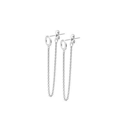 Silver - Circle Chain Stud