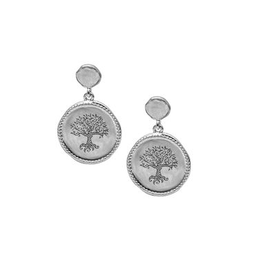 Silver - Coin Tree Earring