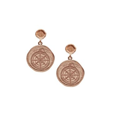 Rose - Coin Compass Earring