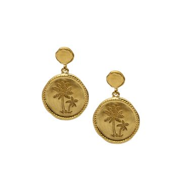 Gold - Coin Palm Earring