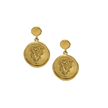 Gold - Coin Coral Earring