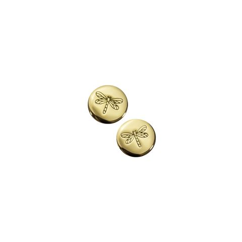 Gold - Disc Dragonfly Earring